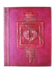 Art: Handmade Journal Stitched Heart by Artist Elis Cooke