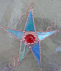 Art: Stained Glass Star Shades of Blue by Artist Dianne McGhee