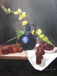 Art: Snapdragons,Grapes,and Black Pitcher by Artist Barbara Haviland