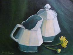 Art: White Creamer and Sugar Bowl by Artist Barbara Haviland