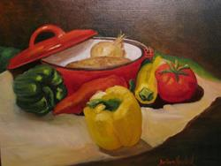 Art: Gilda's Red Pot by Artist Barbara Haviland