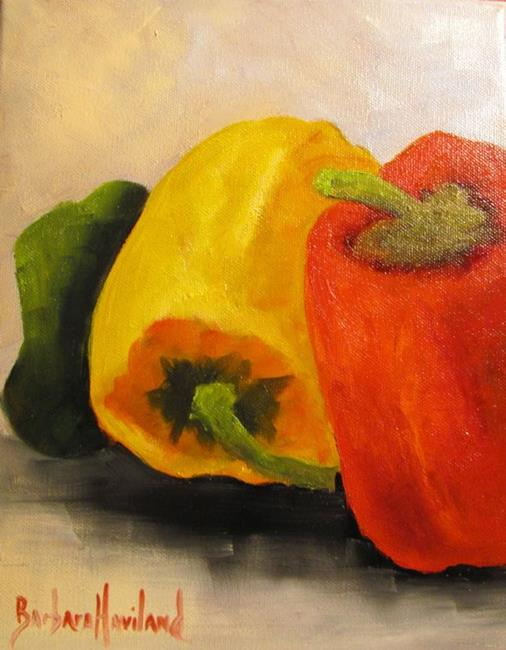 Art: Bell Peppers Three Again by Artist Barbara Haviland