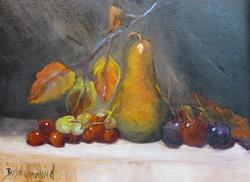Art: Bosc Pear and Red Grapes by Artist Barbara Haviland