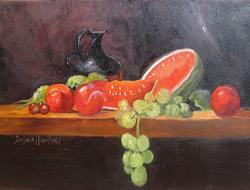 Art: Watermelon,Grapes,and Black Pitcher by Artist Barbara Haviland