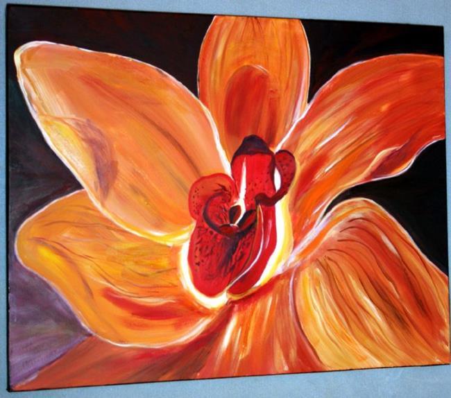 Art: THE ORANGE FLOWER by Artist LUIZA VIZOLI