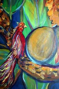 Detail Image for art TROPICAL EXOTIC FOLIAGE-RED BIRD