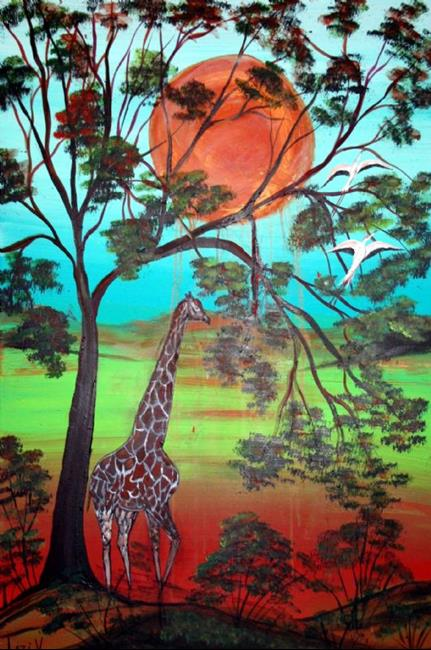 Art: AFRICAN WILDLIFE-GIRAFFE by Artist LUIZA VIZOLI