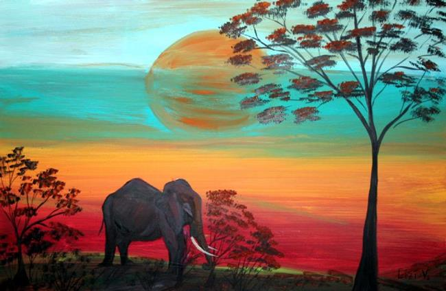 Art: AFRICAN ELEPHANT IN THE SUNSET-SOUTH AFRICA by Artist LUIZA VIZOLI