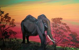 Detail Image for art AFRICAN ELEPHANT IN THE SUNSET-SOUTH AFRICA