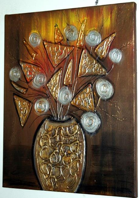 Art: METALLIC FLOWERS-sold by Artist LUIZA VIZOLI