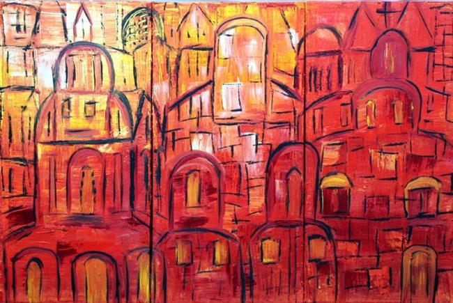Art: THE OLD CITY-JERUSALEM IN THE SUNSET by Artist LUIZA VIZOLI