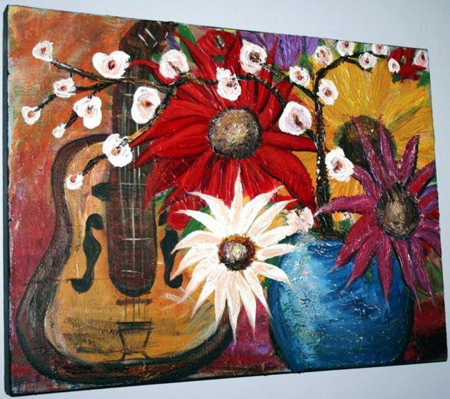 Art: GUITAR AND FLOWERS by Artist LUIZA VIZOLI