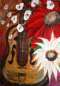 Detail Image for art GUITAR AND FLOWERS