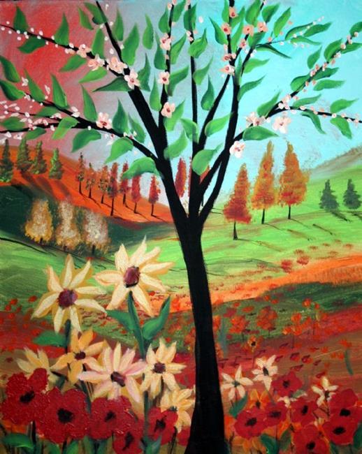 Art: FLOWERS TREE IN THE SUNSET by Artist LUIZA VIZOLI