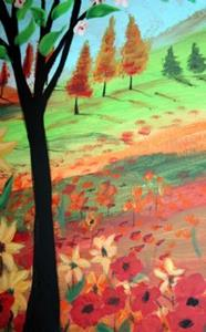 Detail Image for art FLOWERS TREE IN THE SUNSET