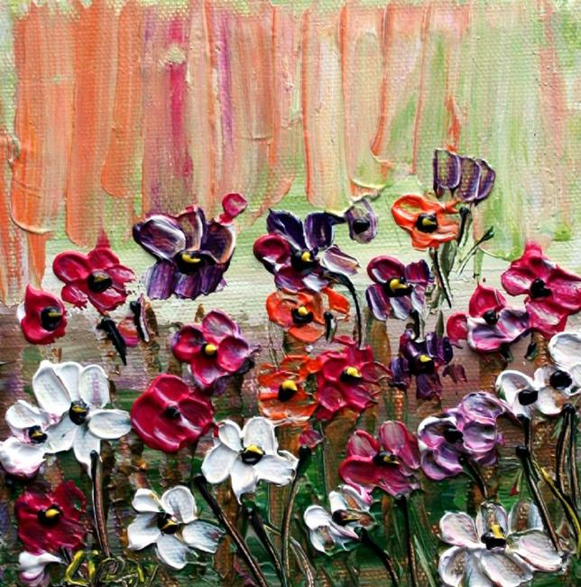 Art: FLOWERS GARDEN Impasto Oil by Artist LUIZA VIZOLI
