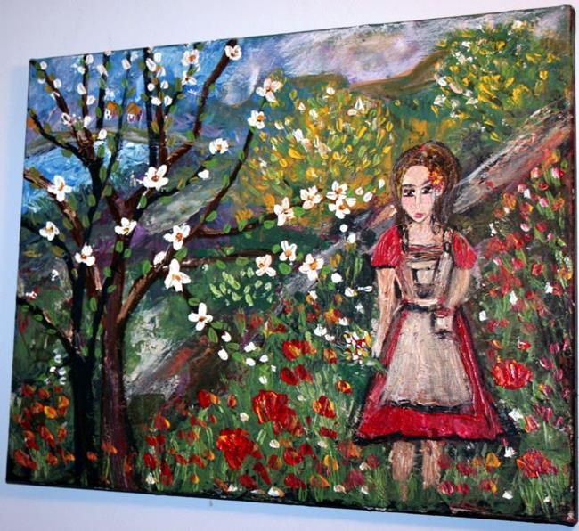 Art: GIRL IN THE SPRING FLOWERS FIELD by Artist LUIZA VIZOLI