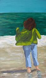 Art: self-portrait regarding the sea by Artist Amie R Gillingham