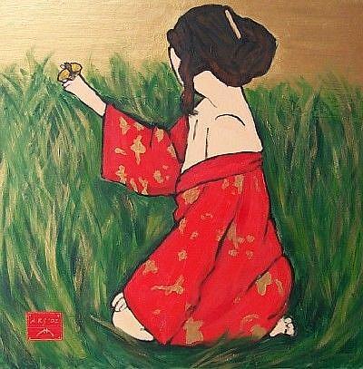 Art: self-portrait as geisha with io moth by Artist Amie R Gillingham