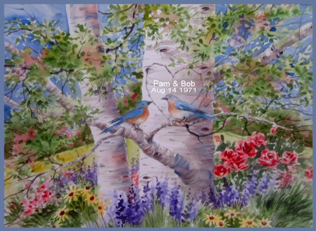 Wedding Gift Paintings: Bluebirds Wedding Anniversary Gift Commission Painting