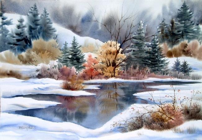 Art: MONTANA WINTER LAKE  by Artist Pamela K Wilhelm