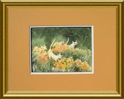 Art: Casper and Snowball on Daffodil Hill by Artist Pamela K Wilhelm