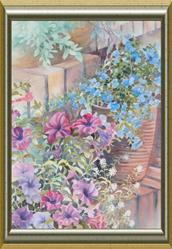 Art: PETUNIAS and ALYSSUM Terrace by Artist Pamela K Wilhelm
