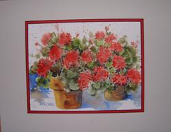 Art: Jan's Geraniums by Artist Pamela K Wilhelm