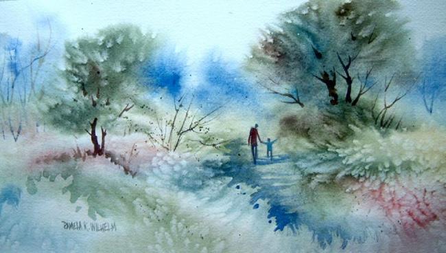 Art: A Walk With Dad by Artist Pamela K Wilhelm