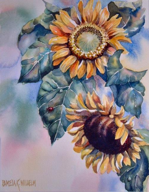 Art: Sunflower Ladybug Vignette by Artist Pamela K Wilhelm