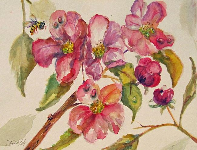 Art: Bee with Fruit Flowers by Artist Delilah Smith