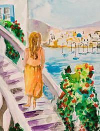 Art: Bougainvillea in Greece by Artist Delilah Smith