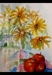 Art: Mason Jar and Blackeyed Susans by Artist Delilah Smith