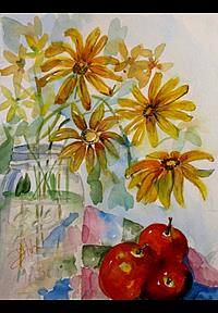 Art: Mason Jar and Black Eyed Susans by Artist Delilah Smith