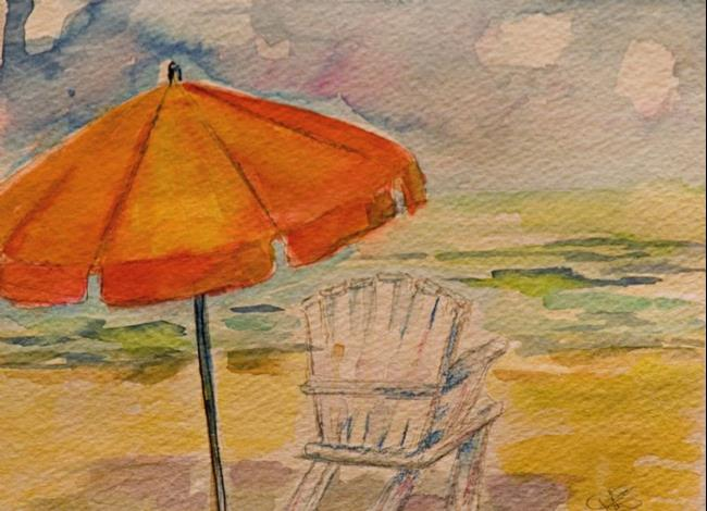 Art: Beach Umbrella by Artist Delilah Smith