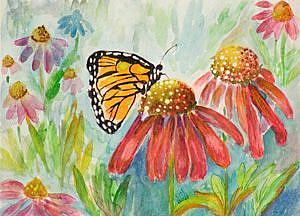 Art: Butterfly and Coneflower by Artist Delilah Smith