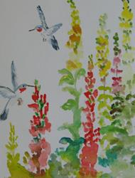 Art: Snapdragons and Hummingbirds by Artist Delilah Smith
