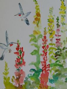 Detail Image for art Snapdragons and Hummingbirds