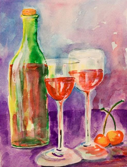 Art: Wine and Cherries by Artist Delilah Smith
