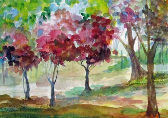 Art: Pink Spring Trees by Artist Delilah Smith