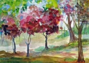 Detail Image for art Pink Spring Trees