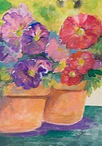 Art: Pot Of Petunias by Artist Delilah Smith