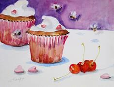 Art: Valentine Cupcakes with Cherries by Artist Delilah Smith