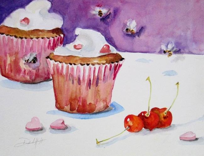 Art: Valentine Cupcakes and CHerries by Artist Delilah Smith