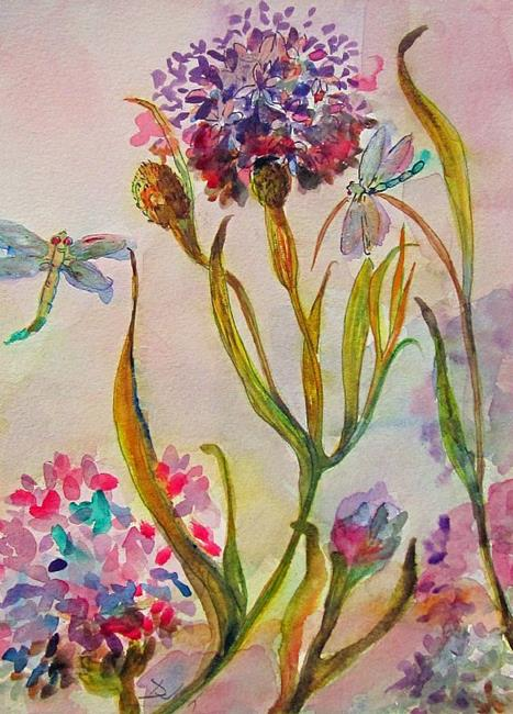 Art: Flower and Dragonfly by Artist Delilah Smith