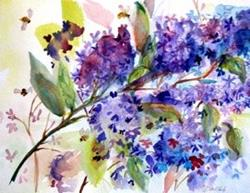 Art: Lilacs with Bees by Artist Delilah Smith