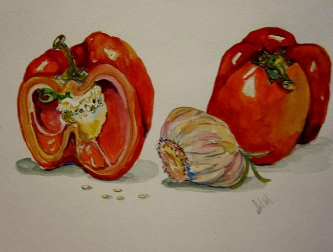 Art: Red Peppers and Garlic by Artist Delilah Smith
