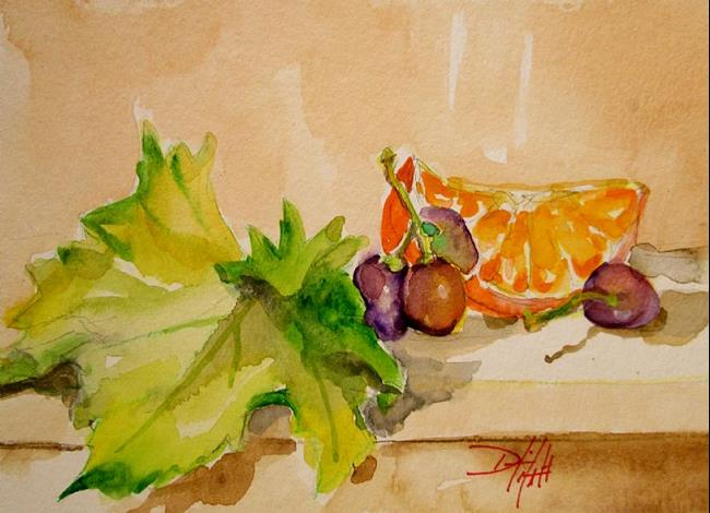 Art: Grapes and Orange Still Life by Artist Delilah Smith