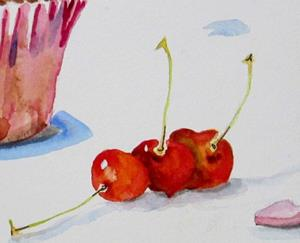 Detail Image for art Valentine Cupcakes and CHerries-sold