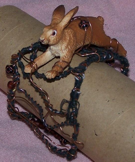 Art: Rabbit Run - original wire cuff by Artist Nancy Denommee